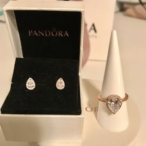 fa1e57f13 Pandora Jewelry | Rose Radiant Teardrop Ring Earrings Set | Poshmark
